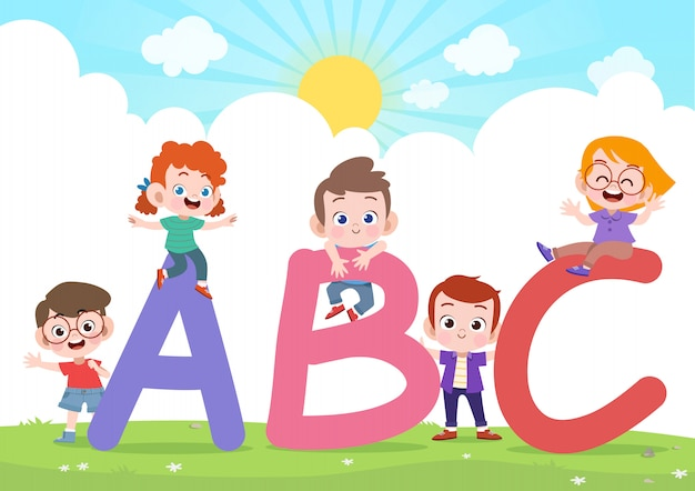 Kids play alphabet vector illustration