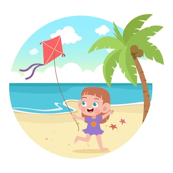 아이들은 해변 그림에서 재생