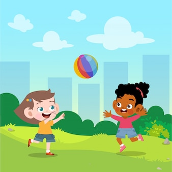 Kids play ball in the garden vector illustration