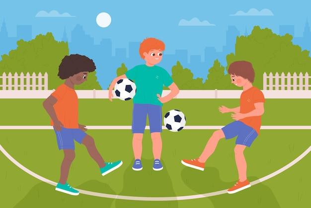 子供たちはボールサッカーをします健康的なスポーツ活動男の子子供たちは一緒にサッカーをします