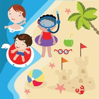 子供たちはビーチの漫画のイラストをプレイ