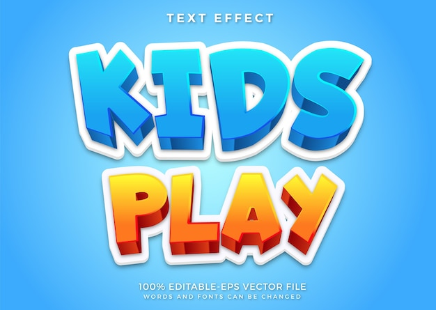 Kids play editable text effect