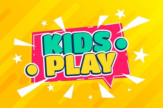 I bambini giocano sullo sfondo dei cartoni animati della zona divertente