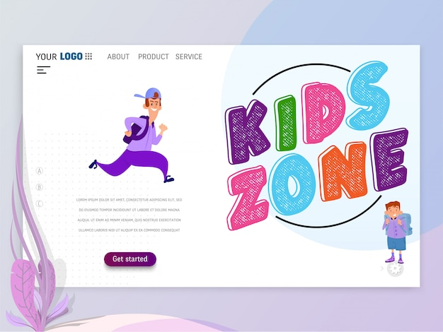 Kids play games landing page or homepage