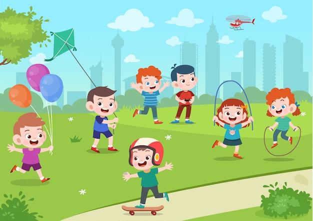 공원에서 아이들 놀이