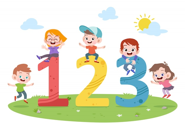 Kids play number vector illustration