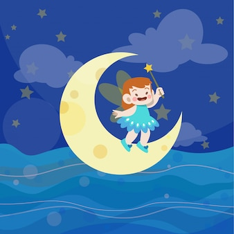 Kids play in the ocean vector illustration
