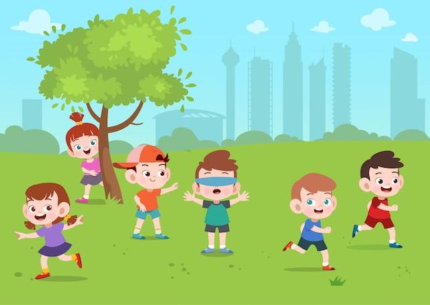 Kids play in park
