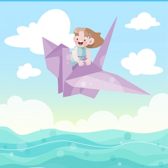 Kids play riding a bird vector illustration