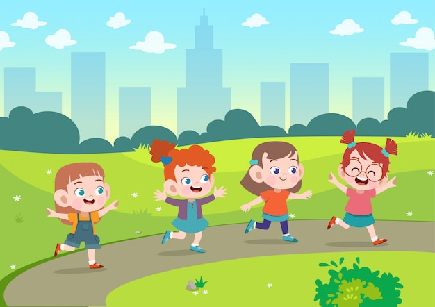 Kids play together in the garden vector illustration