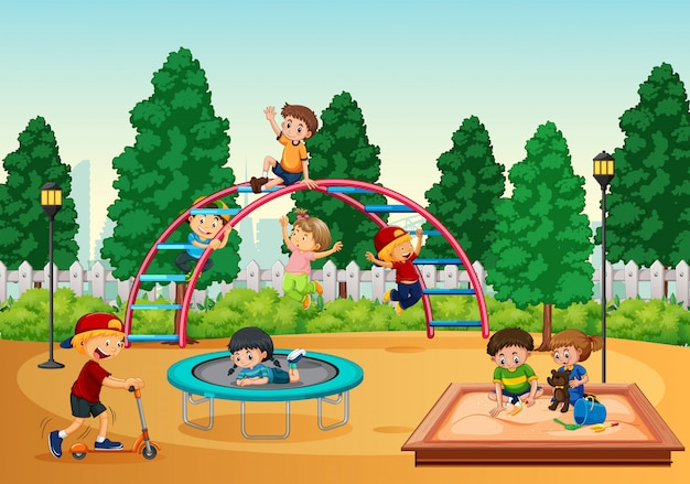 Kids in playgrond scene