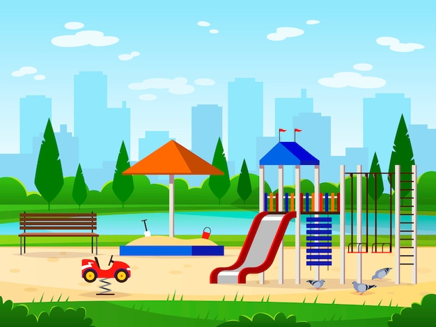 子供の遊び場。都市公園遊び場レジャー野外活動都市景観風景庭園面白いイラスト
