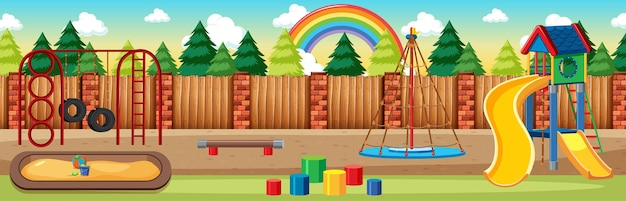 낮 만화 스타일의 파노라마 장면에서 하늘에 무지개와 함께 공원에서 어린이 놀이터
