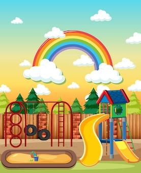 Детская площадка в парке с радугой в небе днем в мультяшном стиле