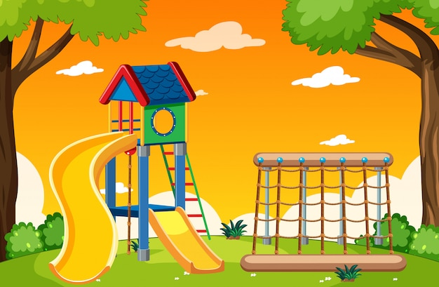 Детская площадка в парке с красным и желтым светом неба мультяшном стиле
