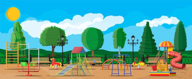 子供の遊び場幼稚園のパノラマ。アーバンチャイルドアミューズメント。スライドはしご、春のロッキングおもちゃ、スライドチューブ、スイングカルーセルバランサー、サンドボックスバケットレーキキャッスルスクープ。フラットスタイル