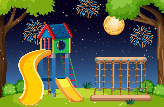 Kids playground in the park with big moon and fireworks in the sky at night cartoon style