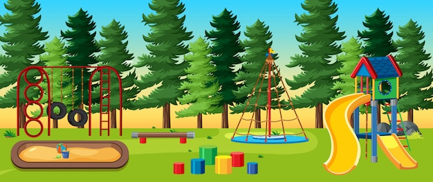 Kids playground in the park with many pines at daytime cartoon style