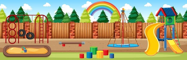 Kids playground in the park with rainbow in the sky at daytime cartoon style panorama scene