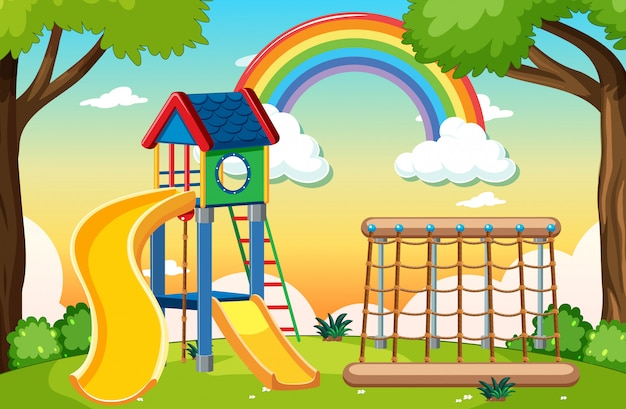 Kids playground in the park with rainbow in the sky at daytime cartoon style