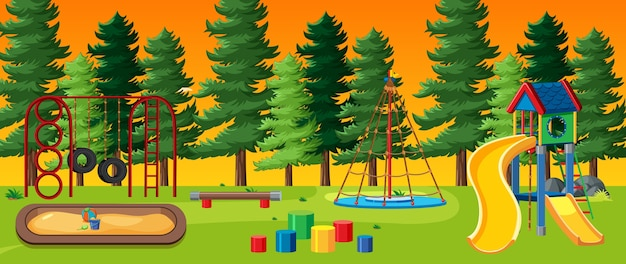 Kids playground in the park with red and yellow light sky and many pines cartoon style