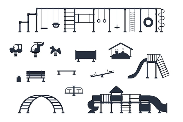 Kids playground. set of  black icons of playing equipment elements. city park concept. vector illustration