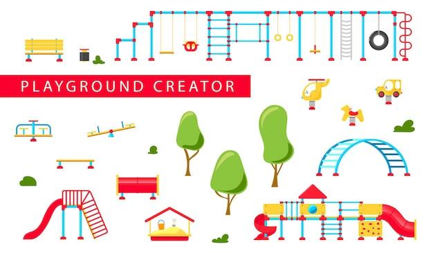 Детская площадка. набор элементов игрового оборудования. концепция городского парка. векторная иллюстрация