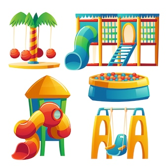 Kids playground with carousel and slide