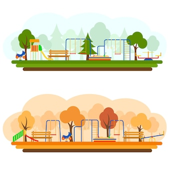 Kids playground with playing equipment in summer and autumn , vector illustration. flat style