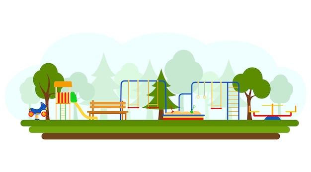 Детская площадка с игровым оборудованием, векторные иллюстрации. плоский стиль