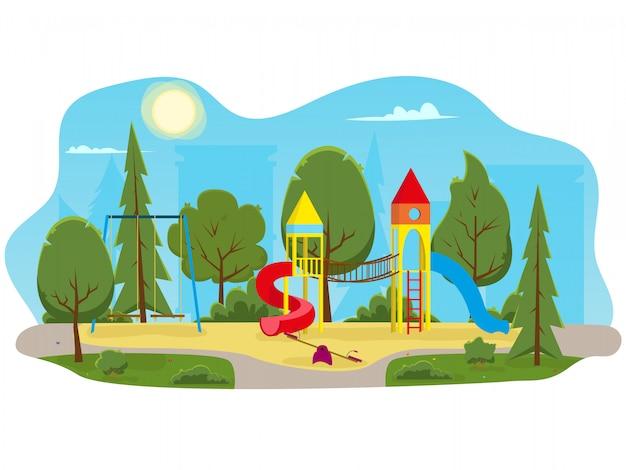 Детская площадка с горками и трубкой в парке.