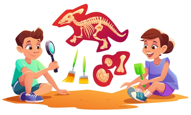 Kids playing in archaeologists working on paleontology excavations digging soil with shovel and exploring artifacts with magnifying glass. children study dinosaurs fossil. cartoon illustration