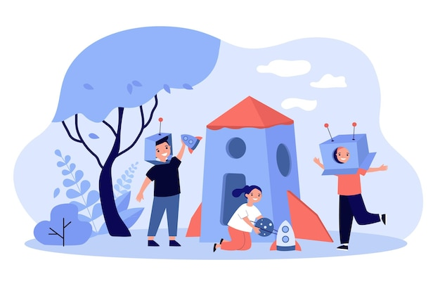 Kids playing astronauts and aliens outdoors illustration