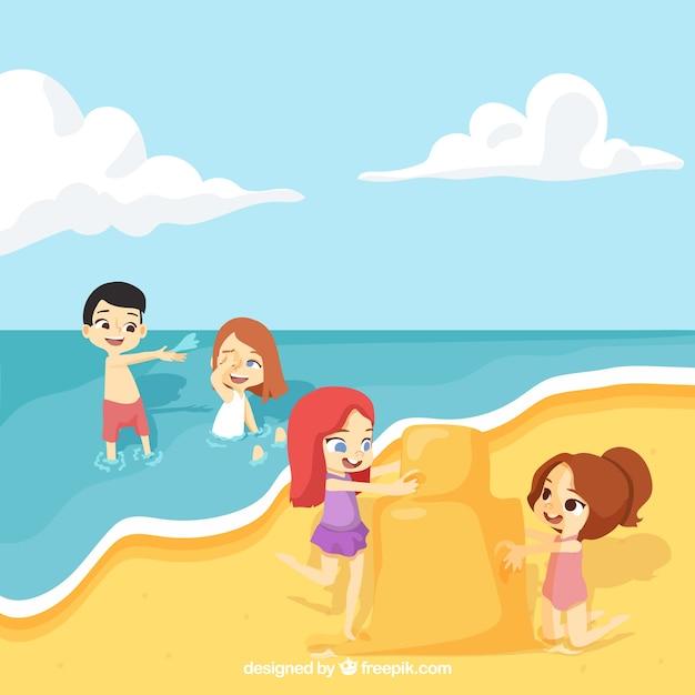 ビーチで遊んキッズ