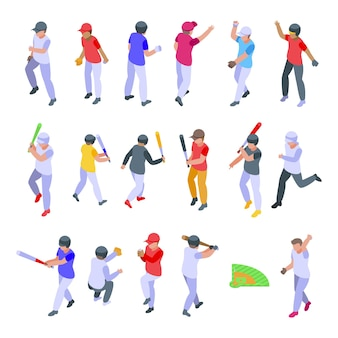 Kids playing baseball icons set. isometric set of kids playing baseball  icons for web