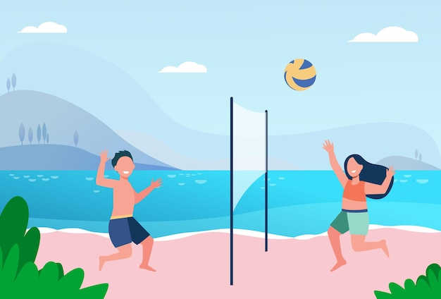 Kids playing beach volleyball. lake, children at seaside, ball game. cartoon illustration