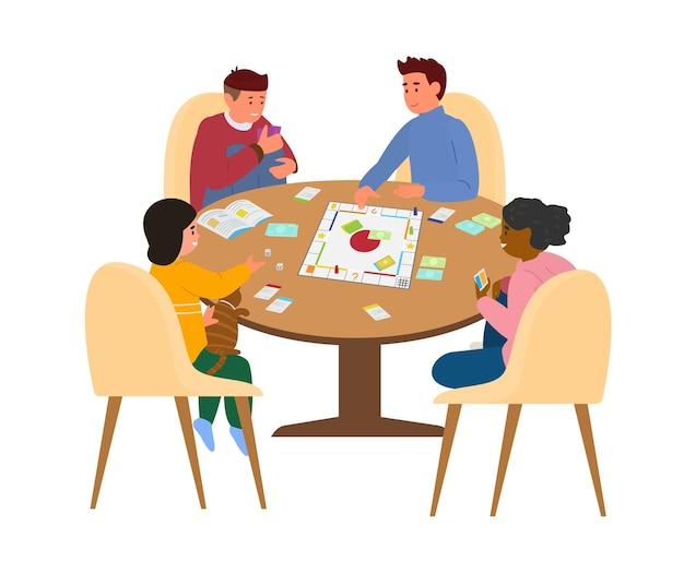 テーブルでボードゲームをする子供たち