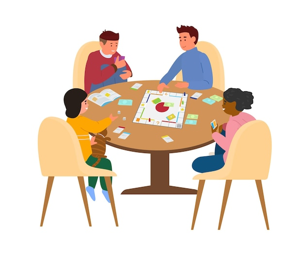 Kids playing board game at table