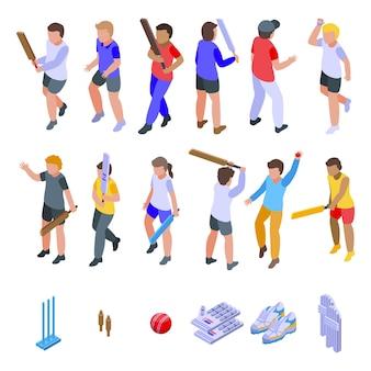 クリケットセットを遊んでいる子供たち。白い背景で隔離のwebデザインのクリケットを遊ぶ子供たちの等尺性