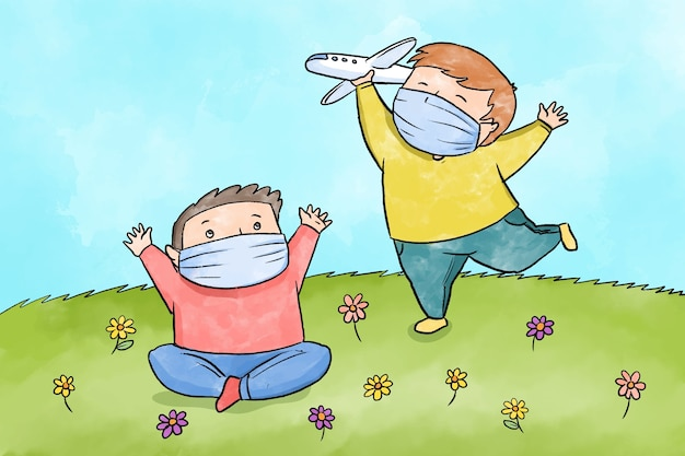 Kids playing during quarantine illustrated