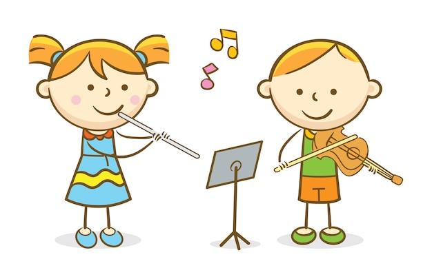 Дети играют на флейте и скрипке