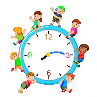 Kids playing on giant clock