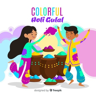 Kids playing holi background