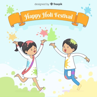Kids playing holi fesival background