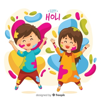 Kids playing holi festival background