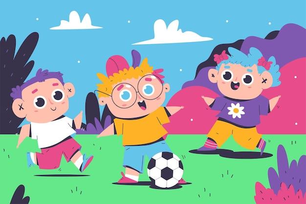 サッカーの屋外イラストで遊ぶ子供たち