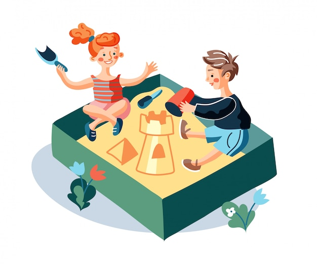 Дети играют в песочнице плоской иллюстрации