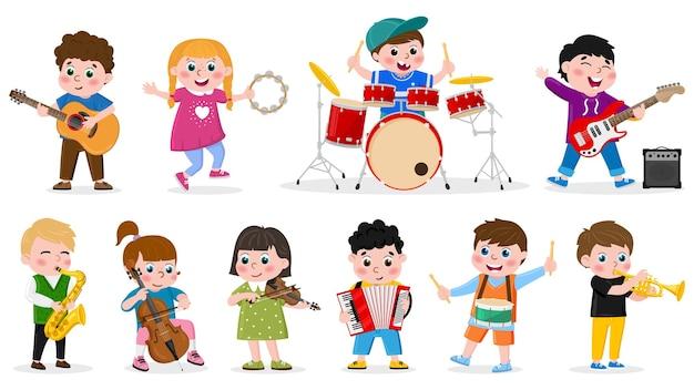 Дети играют на музыкальных инструментах. детская музыкальная группа, девочки и мальчики играют на барабанах, гитаре и скрипке векторные иллюстрации. детский музыкальный оркестр. скрипка и гитара, труба и бубен