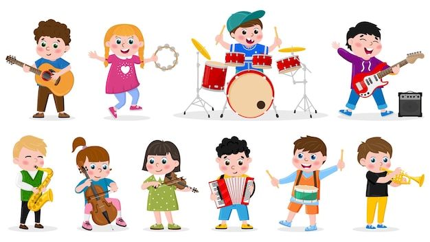 Kids playing musical instruments. child music band, girls and boys play drum, guitar and violin vector illustration. children musical orchestra. violin and guitar instrument, trumpet and tambourine