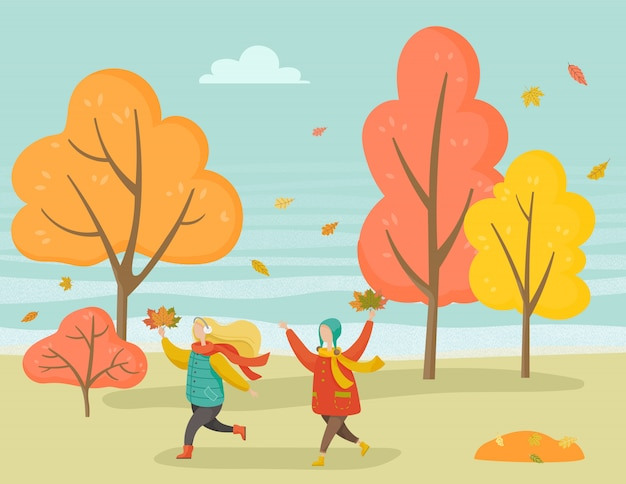 Kids playing in park in autumn season, forest tree